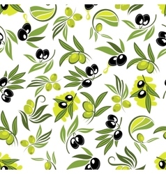Seamless olive tree branches with fruits pattern vector image
