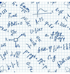 Seamless pattern physic formulas handwritting vector