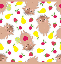 Seamless pattern with smiling hedgehogs vector