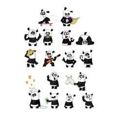 set cute funny cartoon pandas vector image