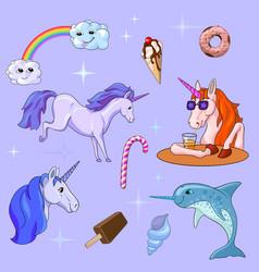 set of cute unicorn design elements vector image