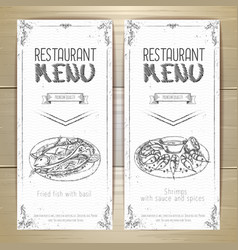 set of restaurant menu hand drawn banners vector image