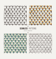 set of seamless doodle patterns like fish scale vector image