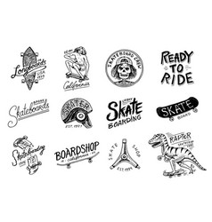 Set of skateboarding labels logo vector