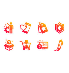 Shopping employee and heart icons set online vector