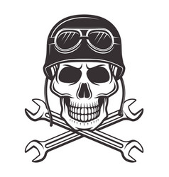 Skull in motorcycle helmet with crossed wrenches vector