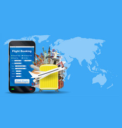 smartphone online flight booking with travel bag vector image