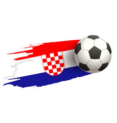 Soccer ball fly on background of croatian flag vector