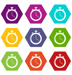 stopwatch icons set 9 vector image
