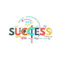 Success text banner vector