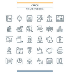 Thin line design office icons vector