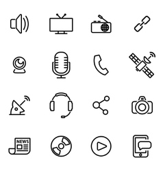 Thin line icons - media vector