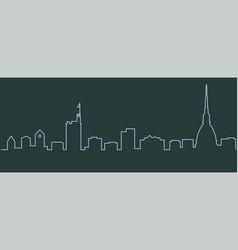 Turin single line skyline vector