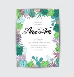 wedding graphic set with succulentswreath vector image