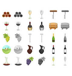 wine products cartoonmonochrom icons in set vector image
