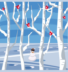 winter landscape with a snowman with birds sitting vector image