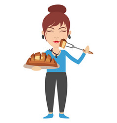 woman baking on white background vector image