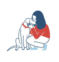 young woman squatted down hugs and kisses her dog vector image