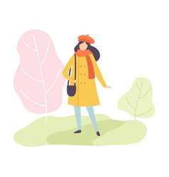 young woman wearing warm clothes walking in spring vector image