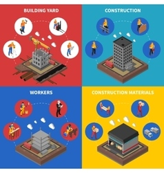 Construction Isometric Concept Icons Set vector image vector image