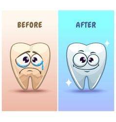 Funny cartoon teeth characters vector