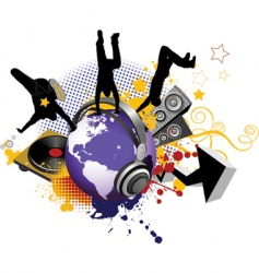globe with dancing youth men vector image vector image