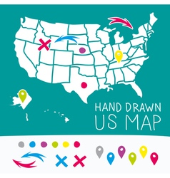 Hand drawn US map whith map pins vector image vector image