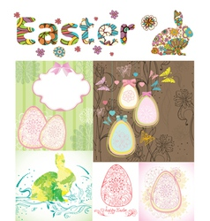 happy Easter card set vector image vector image