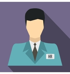 HR manager icon flat style vector image vector image