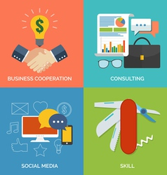 Set of flat design concept icons for business vector image