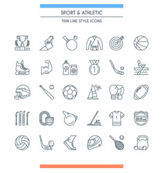 sports and athletics line icons vector image
