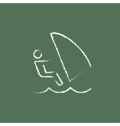Wind surfing icon drawn in chalk vector image