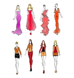 Women in evening and casual outfits vector image