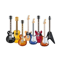 acoustic and electric guitars vector image