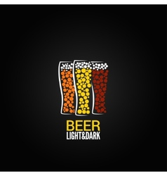 beer glass label design background vector image vector image