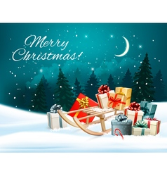 Christmas background with presents on a sleigh vector image vector image