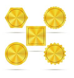 empty golden metal badges vector image