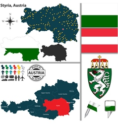 Map of Styria vector image