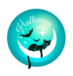 round card for halloween with black cat vector image
