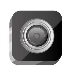 3d button open lens of digital camera vector