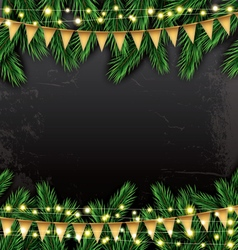 Empty Christmas Template with Fir Branches vector image