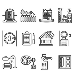 House rent black line icons vector image