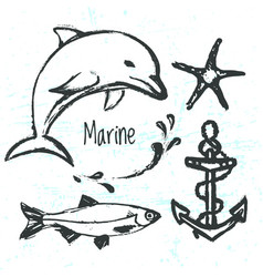 ink hand drawn elements of marine world vector image vector image