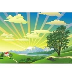 Landscape - the house on the hill in the vector image vector image