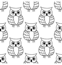 Seamless background pattern of a cute owl vector image
