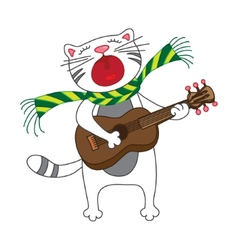singing cat plays guitar on white background vector image vector image