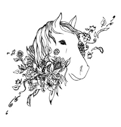 Abstract graphic horse head print vector image vector image