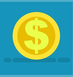big dollar symbol on gold coin icon cartoon style vector image