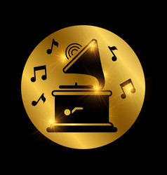 black shiny gramophone and music notes on gold vector image