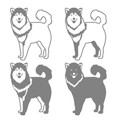 Four Different Silhouettes of dogs vector image